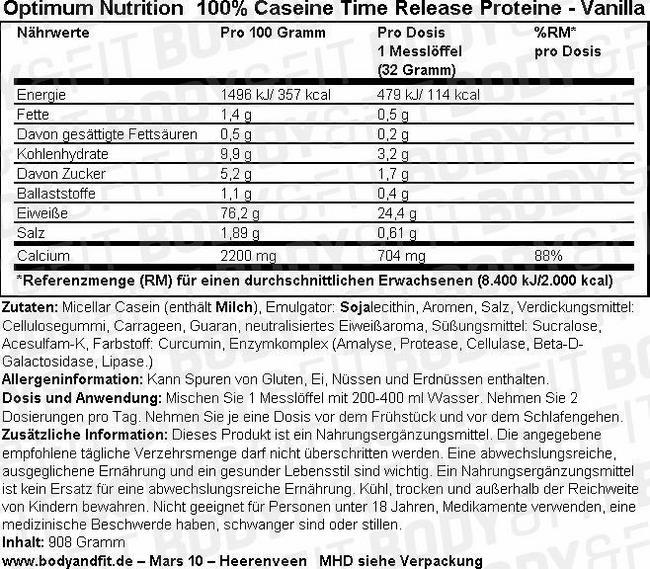 100% Gold Standard Casein Nutritional Information 1