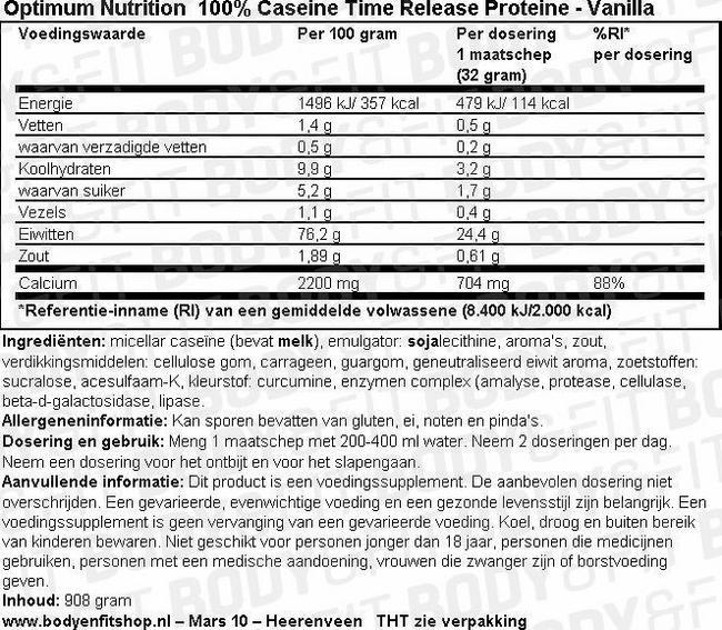 100% Caseine Time Release Proteine Nutritional Information 1