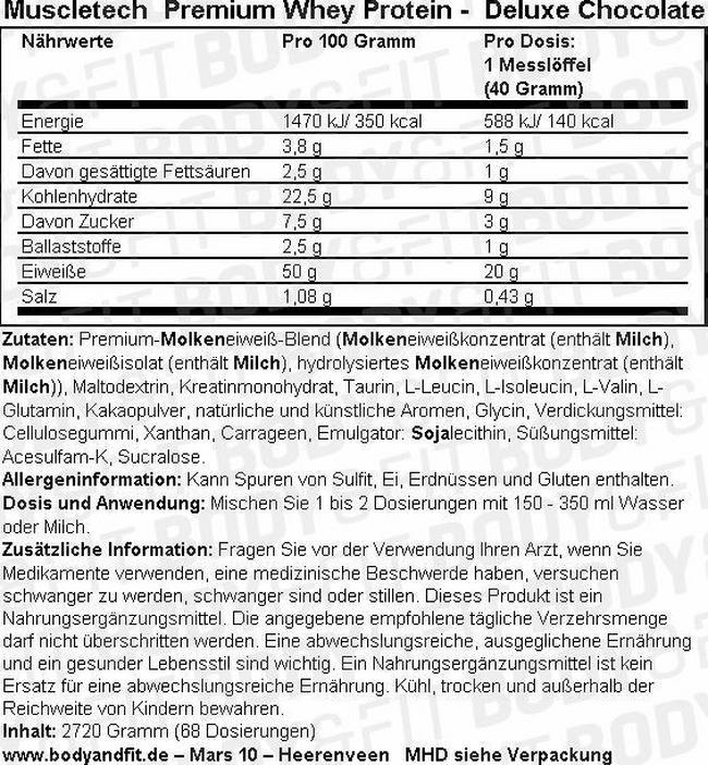 Premium Whey Protein Nutritional Information 1
