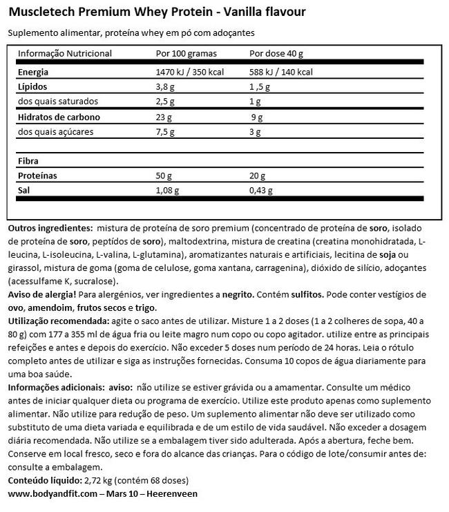 Proteína Whey Plus Premium Nutritional Information 1