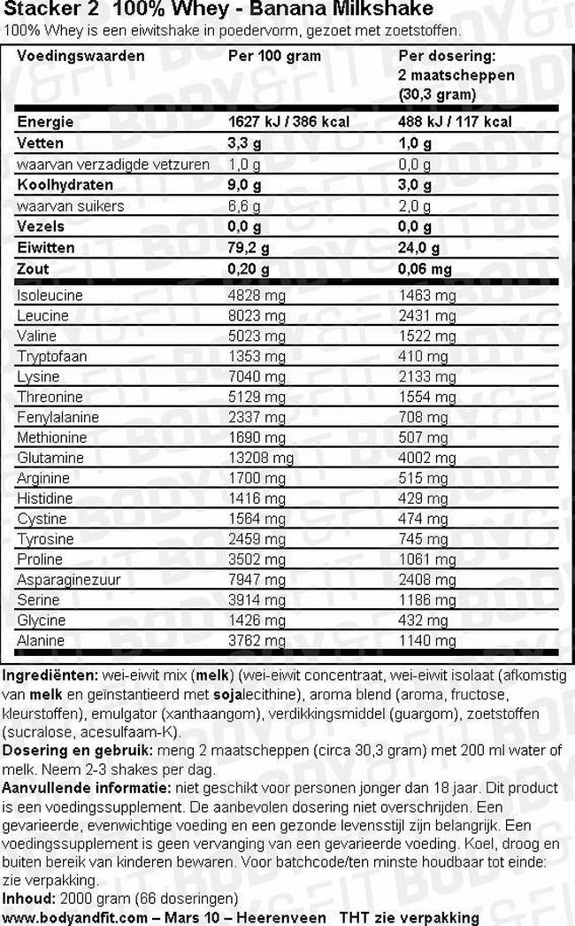 100% Whey - Stacker 2 Nutritional Information 1