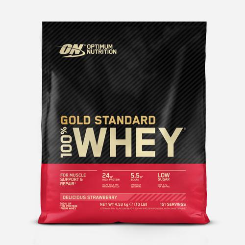 Gold Standard 100% Whey - Optimum Nutrition - Jordgubb - 4540 Gram (154 Shakes)