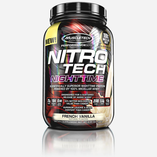 Nitro-Tech Nighttime - Muscletech - Fransk Vanilj - 908 Gram (25 Doser)