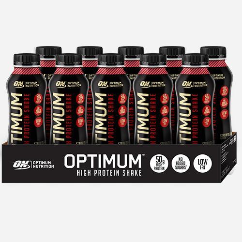 Optimal proteinshake - Optimum Nutrition - Strawberry - 500 Ml (10 Flaskor)