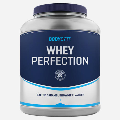 Whey Perfection - Body & Fit - *new* Saltad Karamell Brownie - 2268 Gram (81 Shakes)