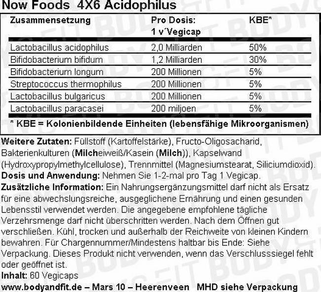 4X6 Acidophilus Nutritional Information 2