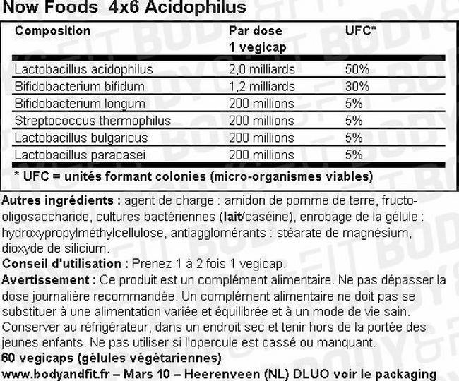 Gélules probiotiques végétariennes 4X6Acidophilus Nutritional Information 1