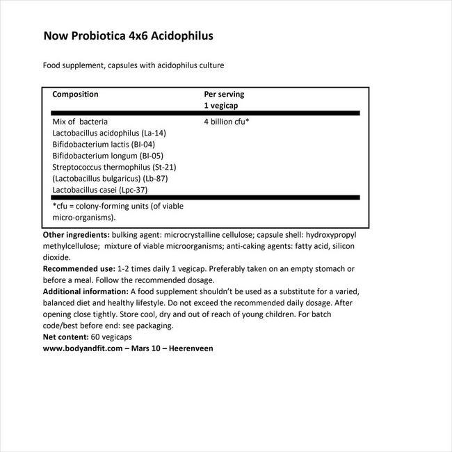 4×6アシドフィルス Nutritional Information 1