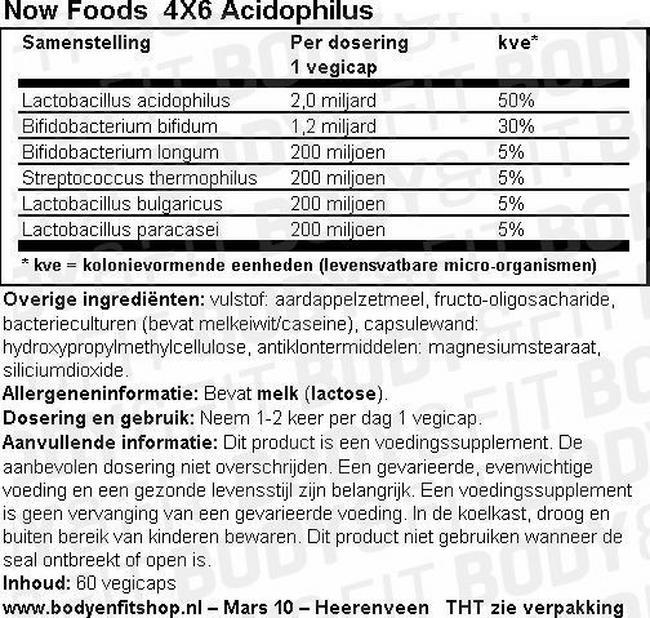4X6 Acidophilus Nutritional Information 1