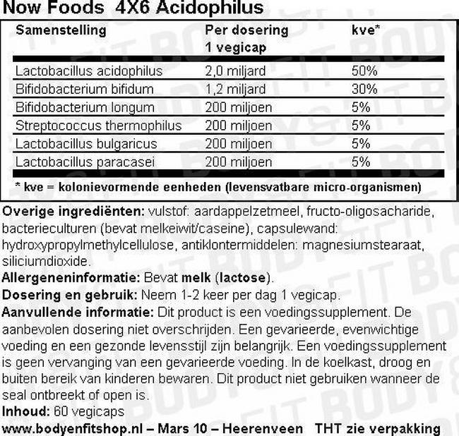 4X6 Acidophilus Nutritional Information 1