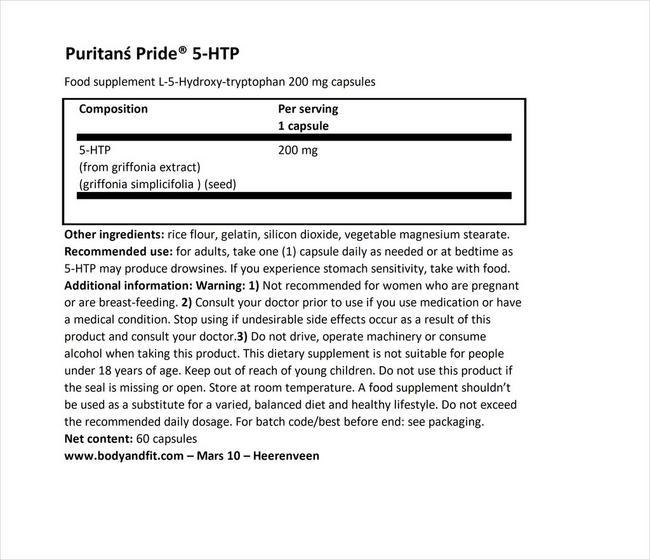 5-HTP 200 mg (Griffonia Simplicifolia) Nutritional Information 1