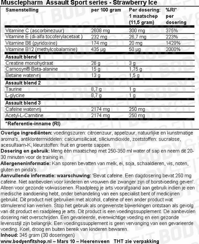 Assault Sport Series Nutritional Information 1