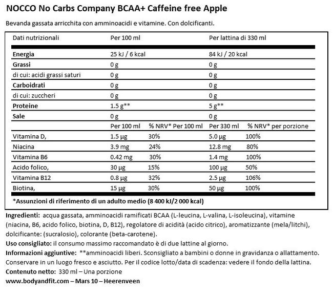 NOCCO BCAA+ DRINK (Senza Caffeina) Nutritional Information 1