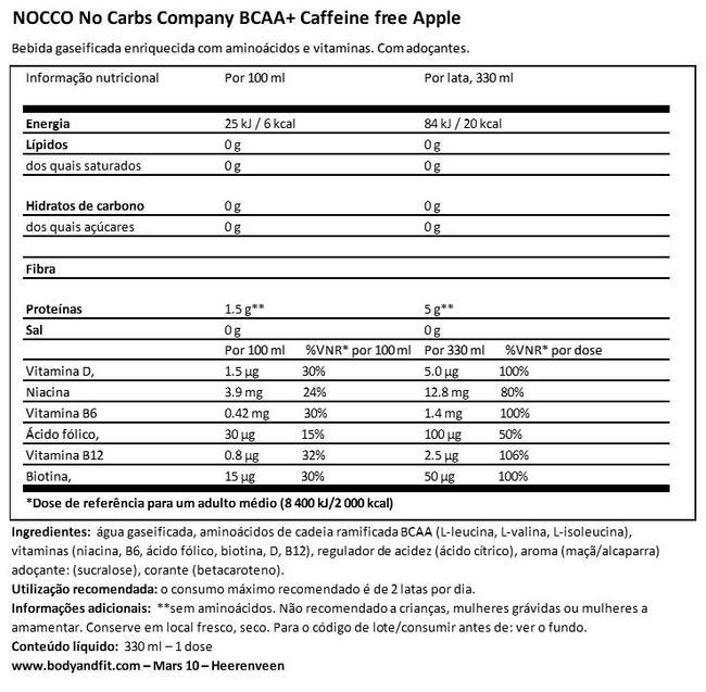 Nocco BCAA+ Drink (caffeine-free) Nutritional Information 1