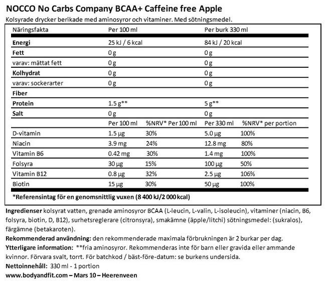 Nocco BCAA+ Drink (koffeinfri) Nutritional Information 1