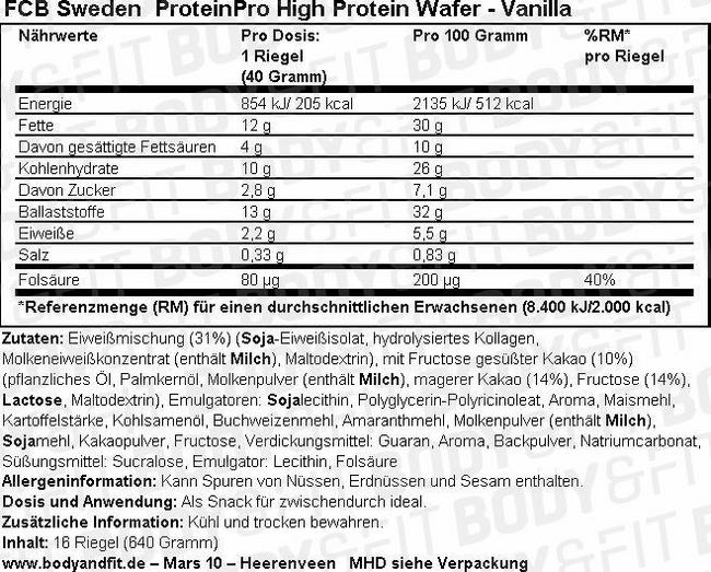 ProteinPro High Protein Wafer Nutritional Information 1
