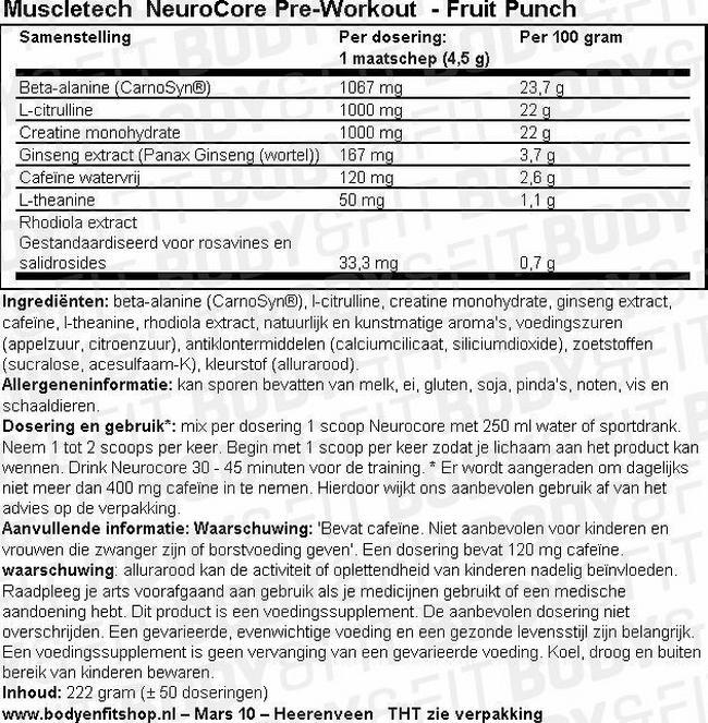 NeuroCore Pre-Workout Nutritional Information 1