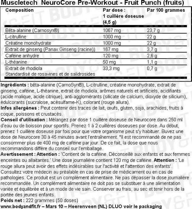 NeuroCore Pre-Workout Nutritional Information 2