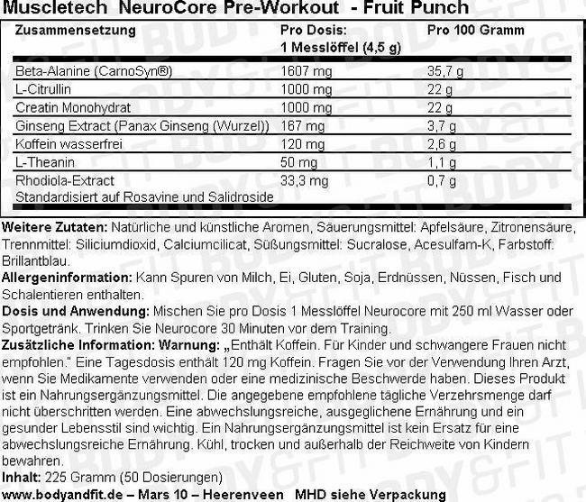 NeuroCore Pre-Workout Nutritional Information 3