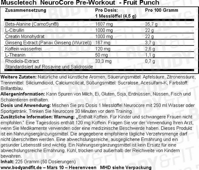 NeuroCore Pre-Workout Nutritional Information 1