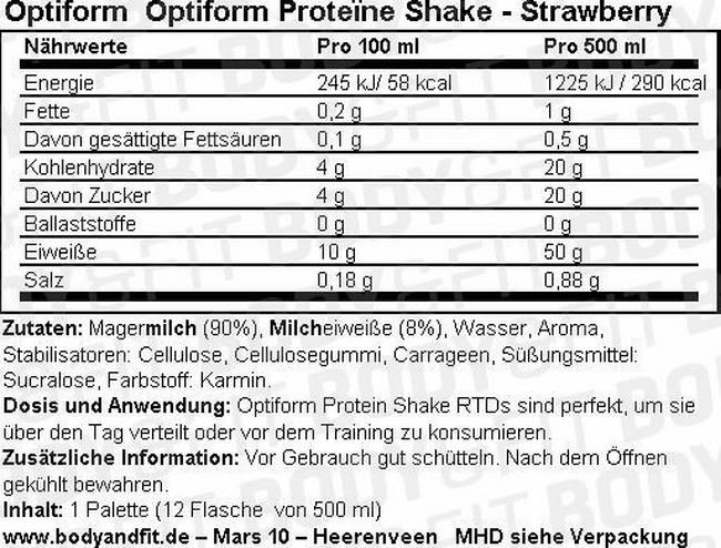 Optiform Protein Shake Nutritional Information 1