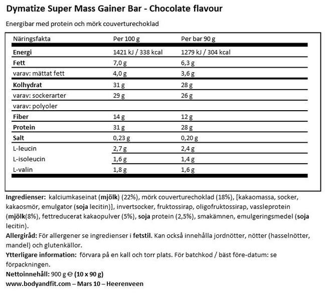 Super Mass Gainer Bar Nutritional Information 1