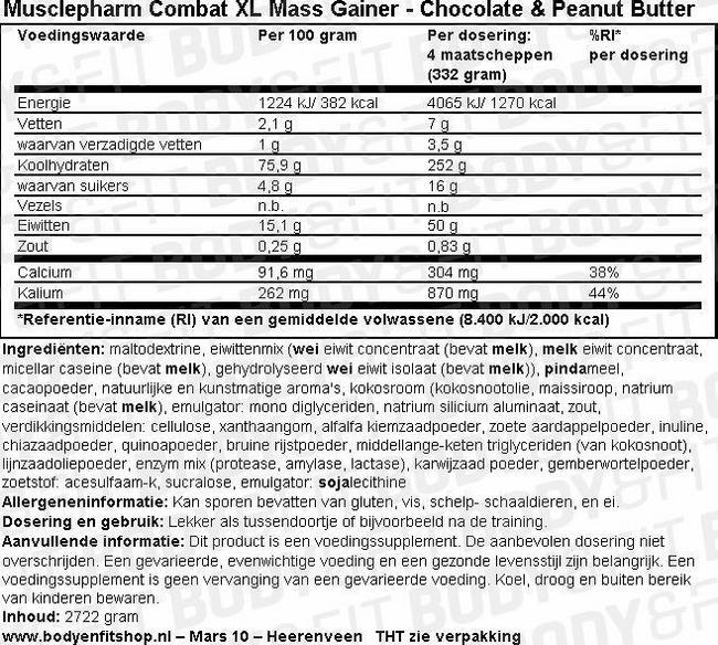 Combat XL Mass Gainer Nutritional Information 1