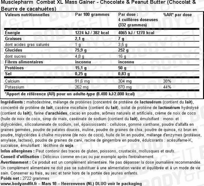 Combat XL Mass Gainer Nutritional Information 2