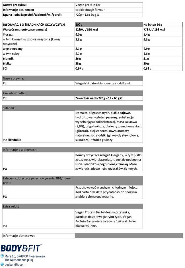 Vegan Protein Bar Nutritional Information 1