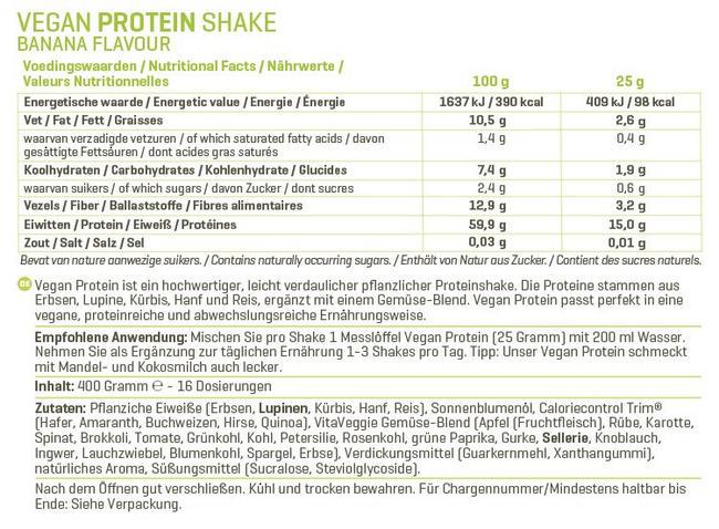 Vegan Protein Nutritional Information 2