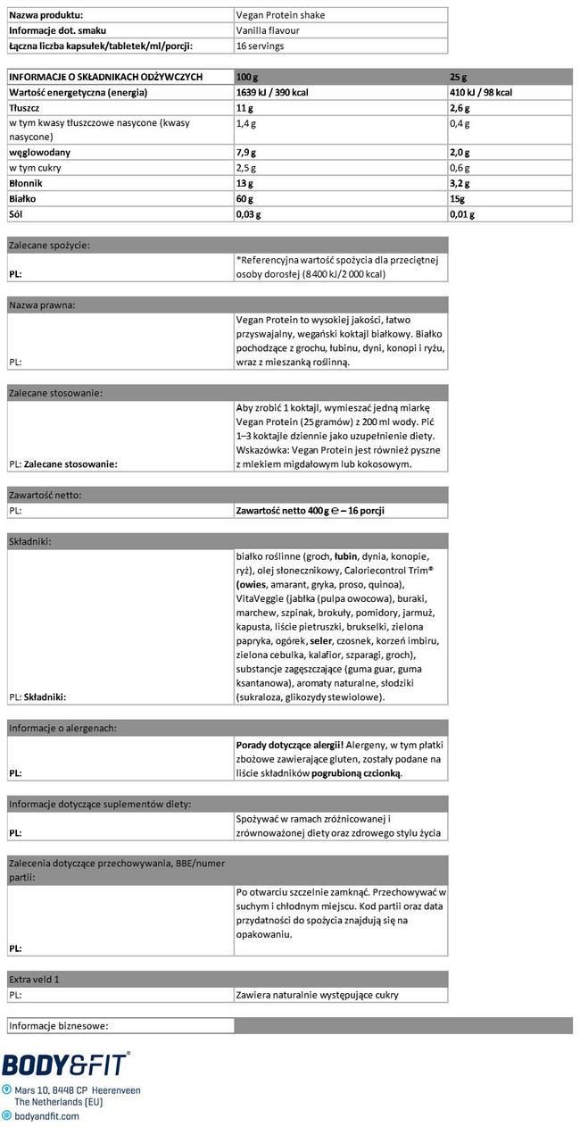 Vegan Protein Shake Nutritional Information 1