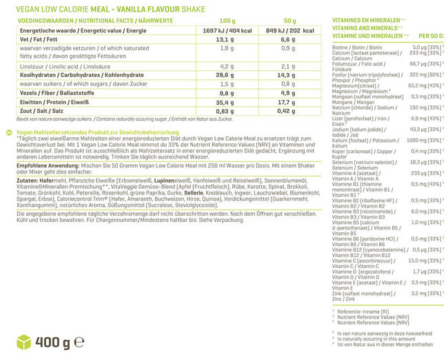 Vegan Low Calorie Meal Nutritional Information 1