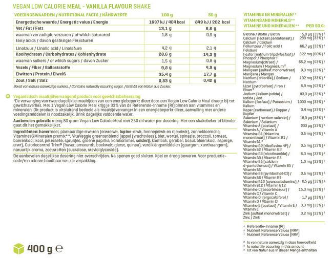 Vegan Low Calorie Meal Nutritional Information 1