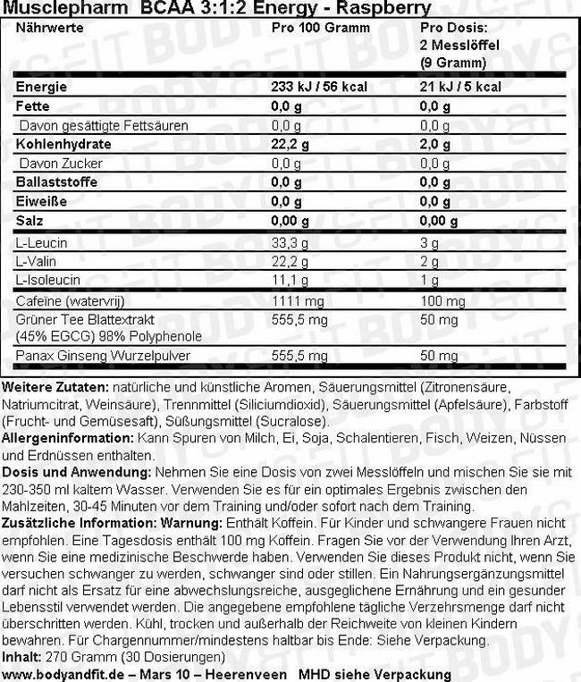 BCAA 3:1:2 Energy Nutritional Information 3