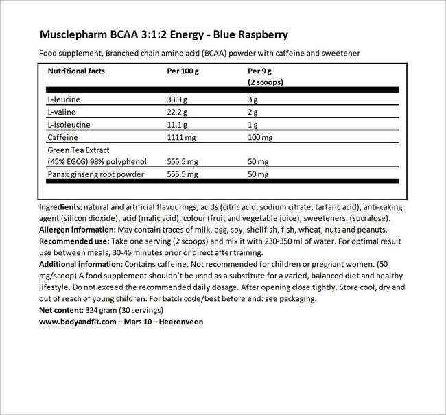 BCAA 3:1:2 Energy Nutritional Information 4