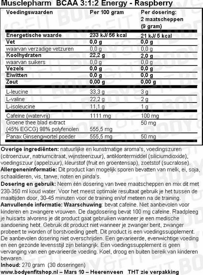 BCAA 3:1:2 Energy Nutritional Information 1