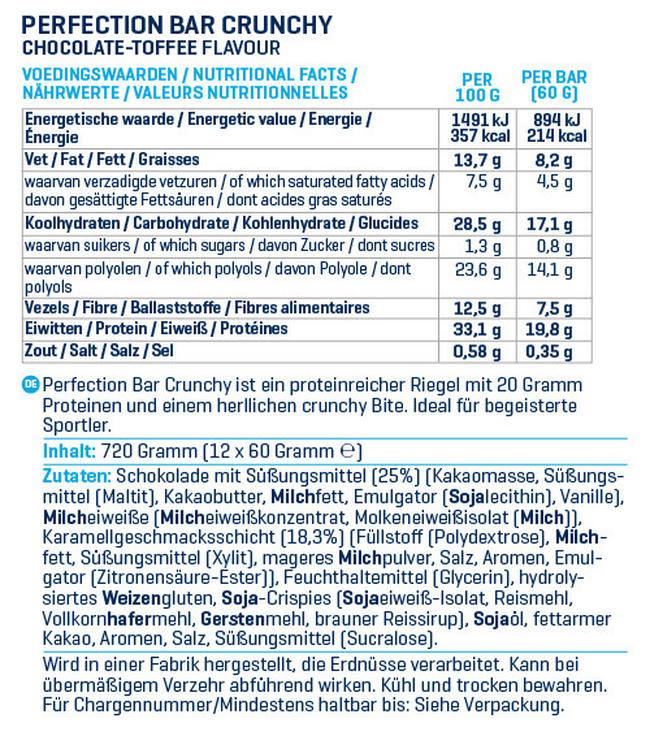 Perfection Bars Crunchy Nutritional Information 2