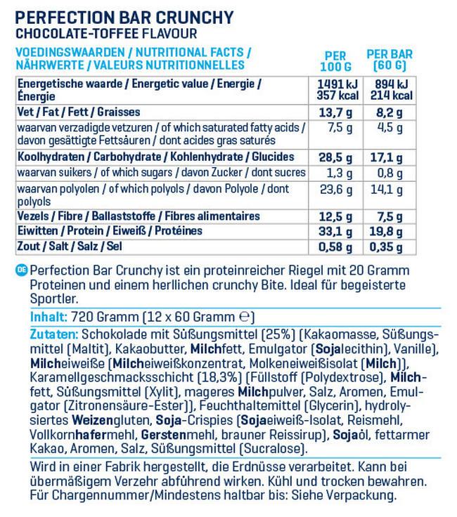 Perfection Bar Crunchy - Box (12X60g) Nutritional Information 1