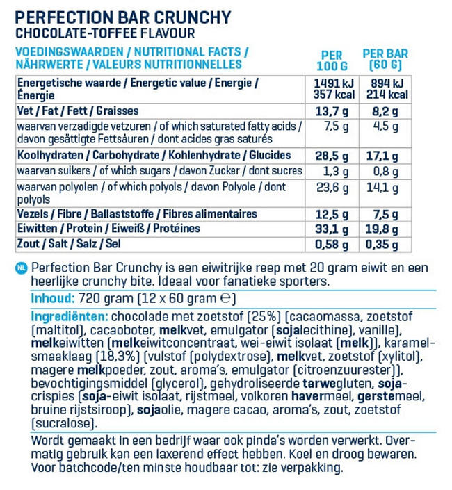 Perfection Bars Crunchy Nutritional Information 1