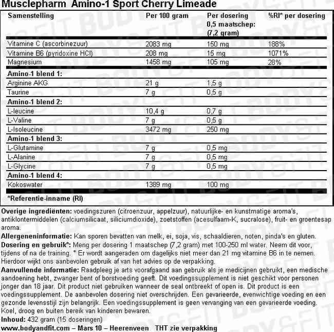 Amino-1 Sport Nutritional Information 1