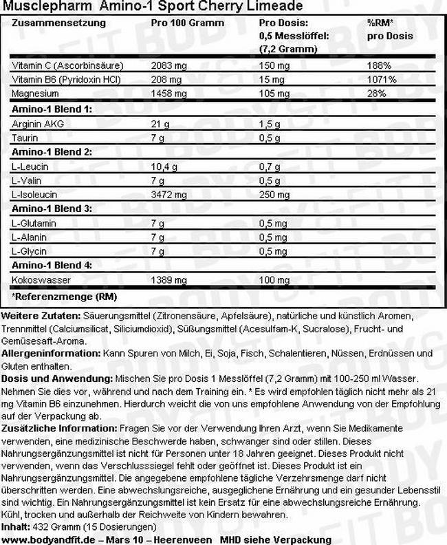 Amino-1 Sport Nutritional Information 3