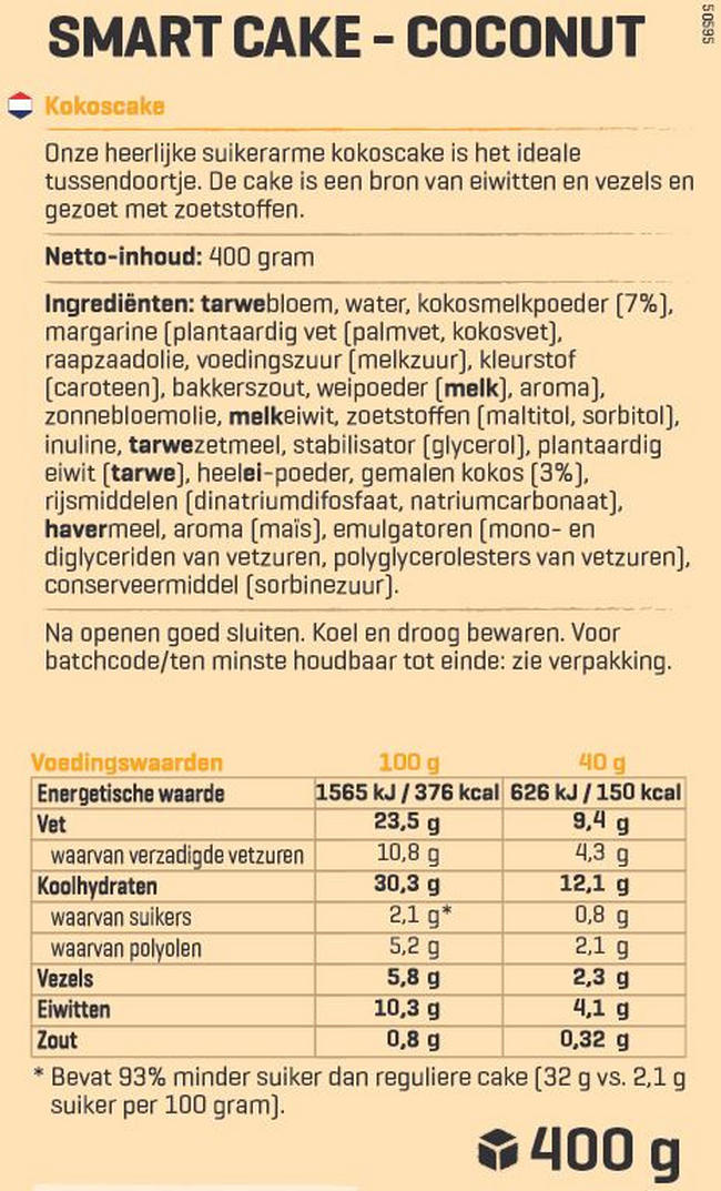 Smart Cakes met eiwit Nutritional Information 1