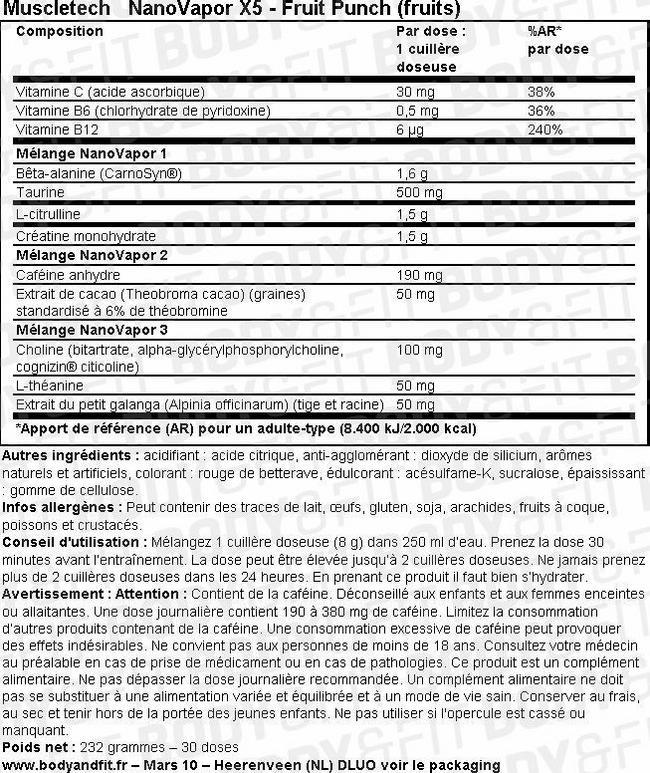 NanoVapor X5 Nutritional Information 1