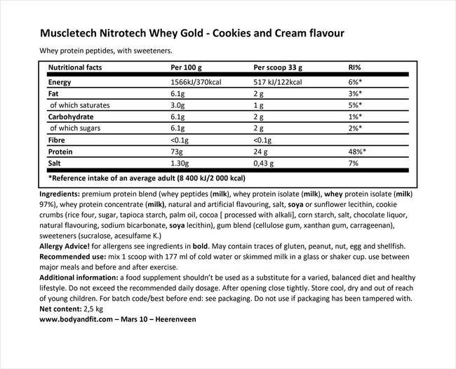 니트로테크 웨이 골드 Nutritional Information 1