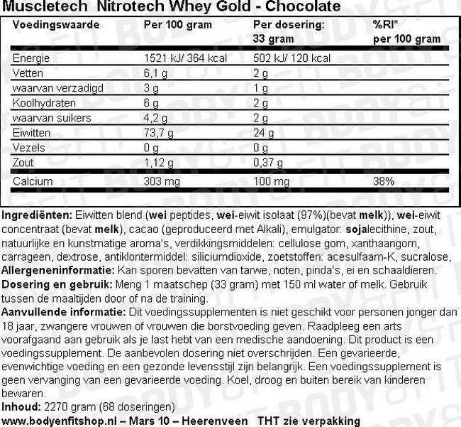Nitrotech Whey Gold Nutritional Information 1