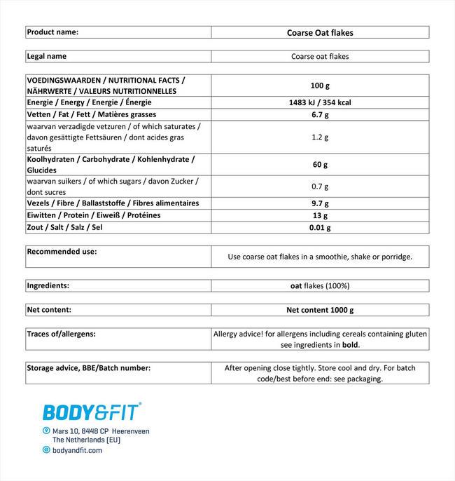 ピュア オーツフレーク Nutritional Information 1