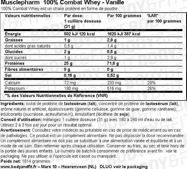 100% Combat Whey Nutritional Information 2