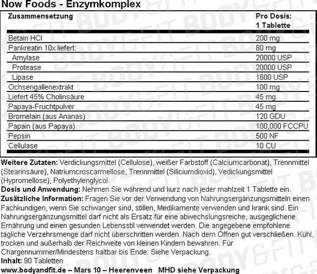 Enzymkomplex Nutritional Information 1