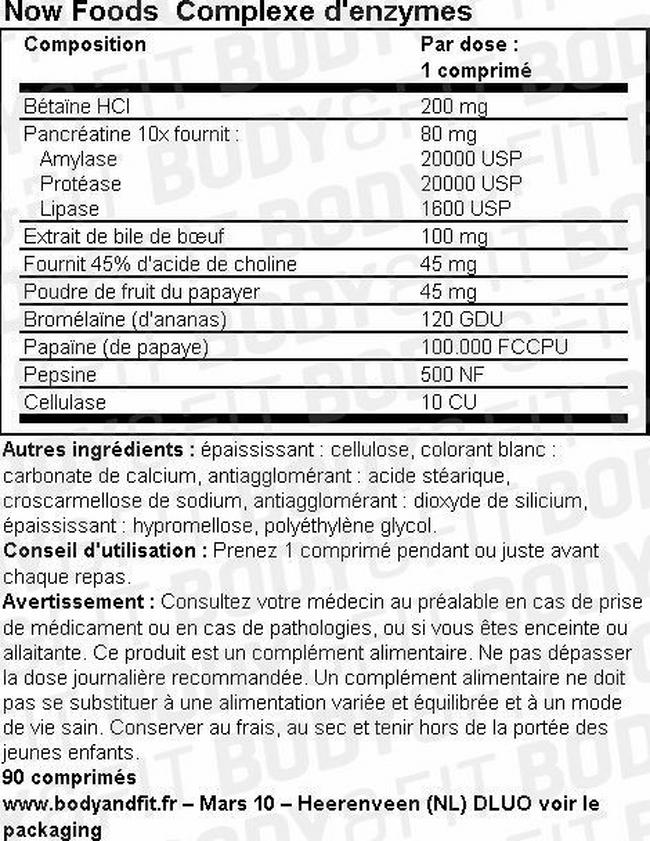 Complexe d'enzymes Nutritional Information 1