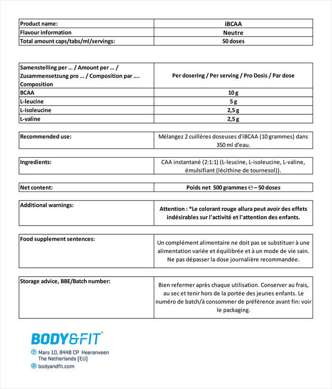iBCAA Powder Nutritional Information 4